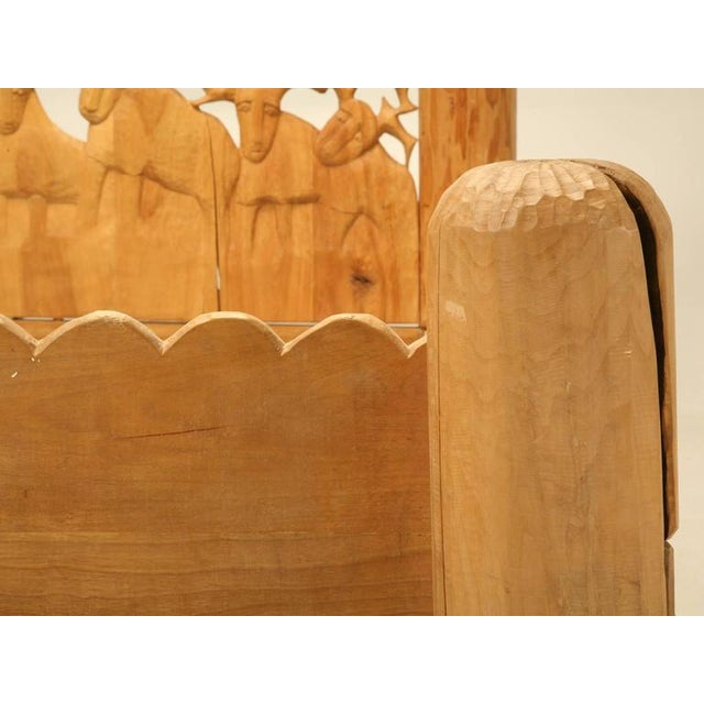 Wood Seven Stags Hand-Carved Bed by Jerzy Kenar For Sale - Image 7 of 10