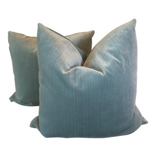 "22"" Aqua Strie Velvet Pillows - a Pair"