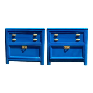 Stanley Regency High Gloss Blue & Gold Nightstands / End Table - a Pair For Sale
