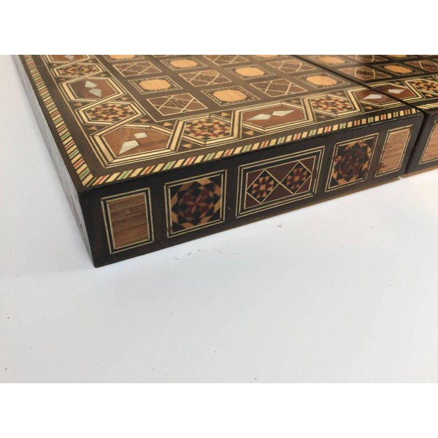 Boho Chic Syrian Inlaid Mosaic Backgammon and Chess Game Box For Sale - Image 3 of 10