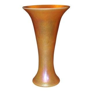 C1980's Steuben Style Contemporary Gold Vase For Sale