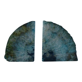 Brazilian Turquoise Green Agate Bookends, a Pair For Sale
