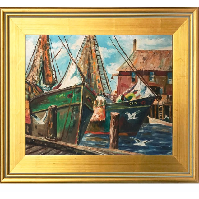 Vintage Oil Painting of a Harbor Scene with Ships C. 1950s - Image 2 of 5