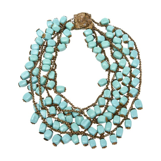 Miriam Haskell Turquoise Glass Bead and Metal Bib Necklace Vintage For Sale - Image 9 of 9