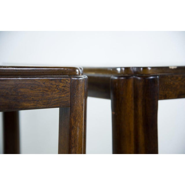 Drexel Heritage Drexel Campaign Style Burl Wood Side Tables - A Pair For Sale - Image 4 of 13