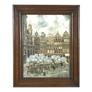 Antique Framed Oil Painting on Canvas by by Jos Baumans Dated 1931 For Sale