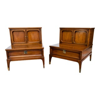 Mid-Century Walnut Side Tables by White Fine Furniture Company - a Pair For Sale