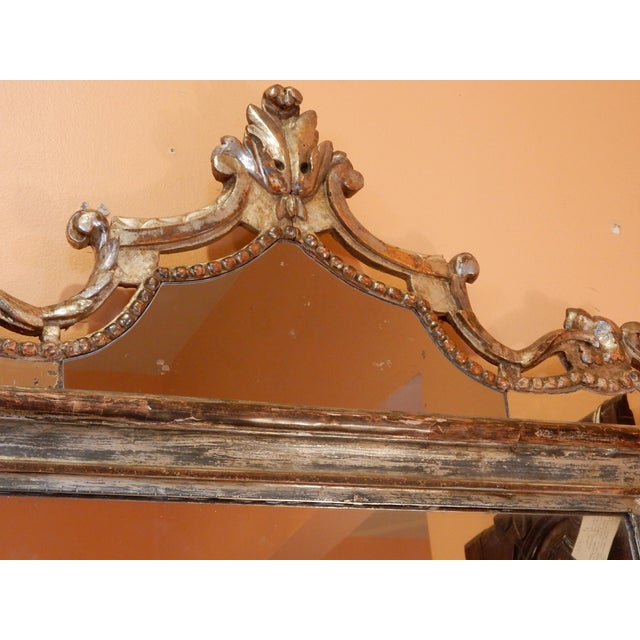 Directoire' Worn Silver Gilt Mirror For Sale - Image 4 of 10