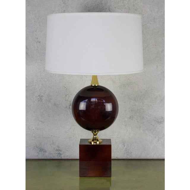 Brass French Aubergine Enameled Table Lamp by Maison Barbier For Sale - Image 7 of 8