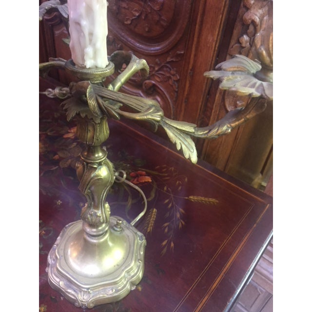 1900 - 1909 Early 20th Century Antique French Bronze Candle Lamps - A Pair For Sale - Image 5 of 12