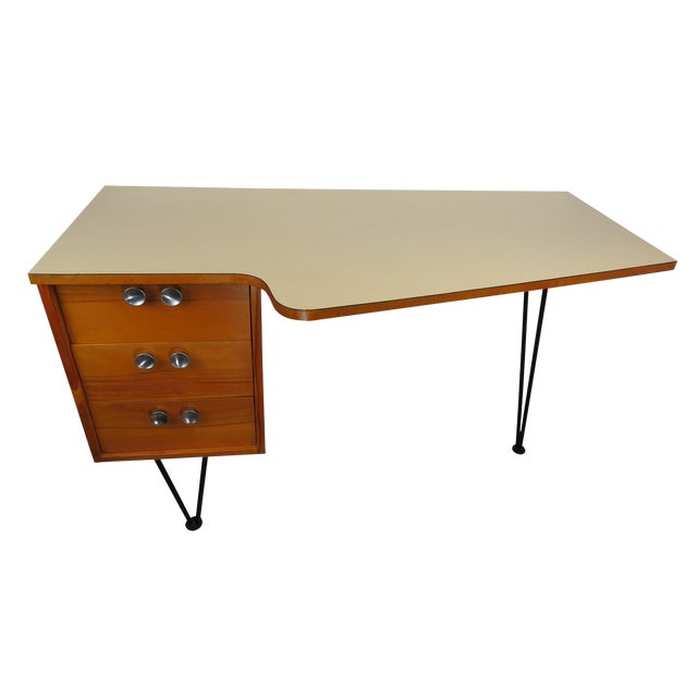 1950's Mid-Century Modern Mengel Writing Desk With Hairpin Legs For Sale
