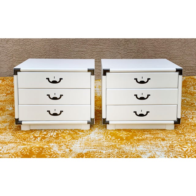 1960's Drexel Campaign Style Nightstands-a Pair For Sale - Image 10 of 10