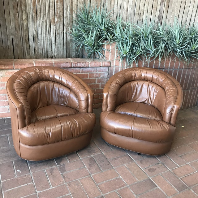 "Brown Leather Barrel Swivel Chairs Leather and Metal Sturdy and Smooth 28"" H x 29.5"" w x 29.5"" d 1970s"