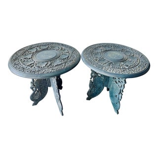 1970s Indian Round Side Tables - a Pair For Sale