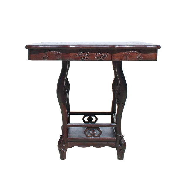 This is a handmade Chinese accent decorative tea table chair 5 pieces set. It is made of natural hardwood, Chinese...