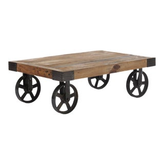 Industrial Fir Wood Cart Table
