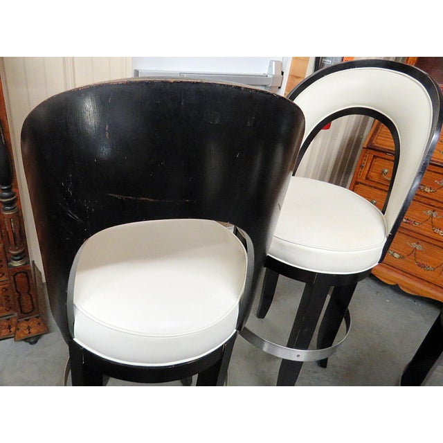 Leather Mid-Century Modern Swiveling Bar Stools - Set of 4 For Sale - Image 7 of 8
