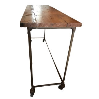 Antique Industrial Rustic Maple Top Kitchen Island Table For Sale