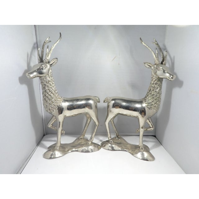 Miniature Silvered Brass Deer Figurines - a Pair For Sale - Image 9 of 12