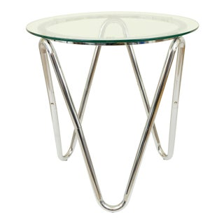 20th Century Sculptural Chrome Steel Tubing and Glass Side/Accent Table For Sale