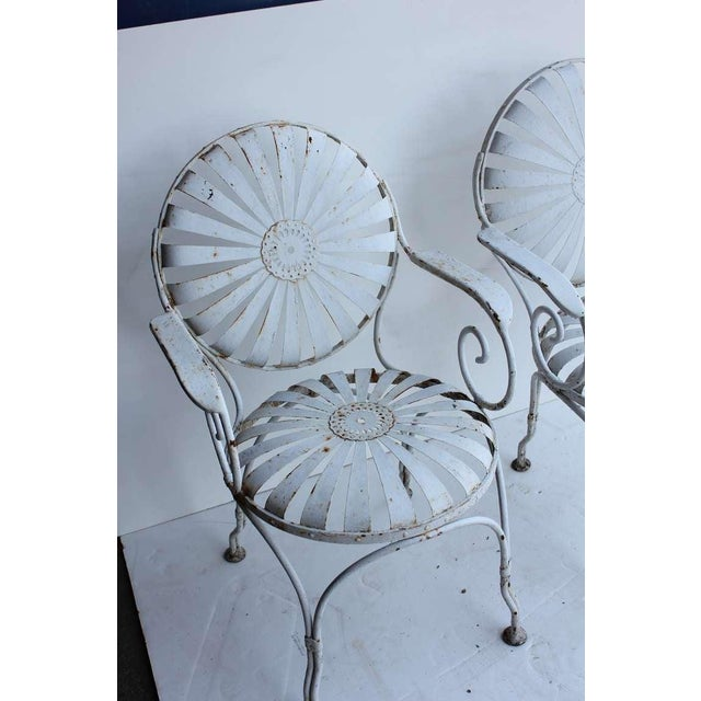 Art Deco 1940s Vintage Francois Carre French Art Deco Iron Pair Sunburst Garden Side Chairs- a Pair For Sale - Image 3 of 4