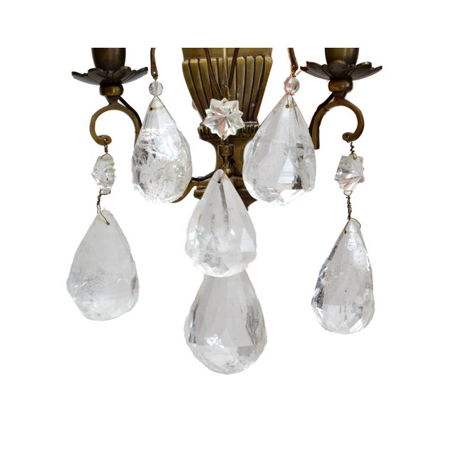 Bohemian Rock Crystal and Bronze Wall Sconces, A Pair For Sale In Miami - Image 6 of 9