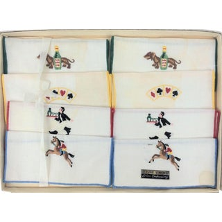 Boxed Set of 8 Tri-Fold Linen Steeplechase Cocktail Napkins For Sale