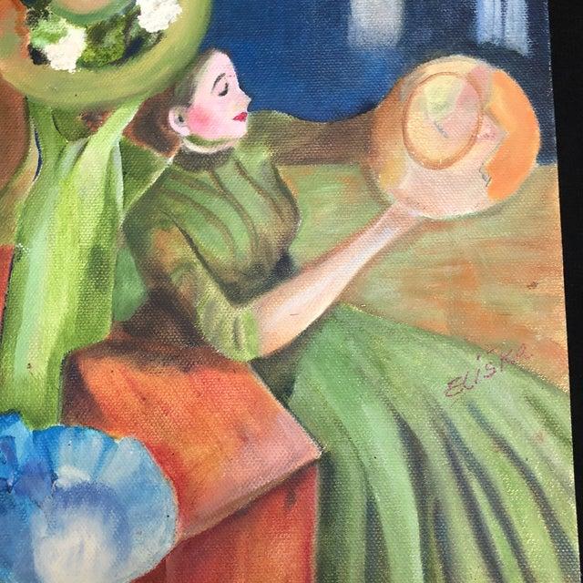 "Hand painted copy of ""The Millinery Shop"" - Edward Degas by local artist Lisa Burris ""Eliska"". Painting on canvas paper."