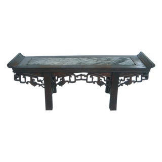 Antique Marble Rosewood Display Stand, Altar Table For Sale