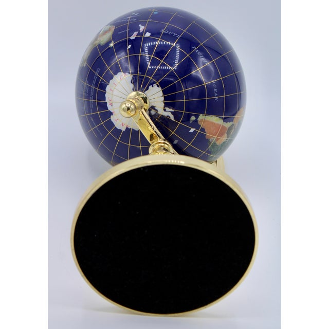 Metal Vintage Blue Lapis World Gold With Semiprecious Gems on Brass Stand For Sale - Image 7 of 13