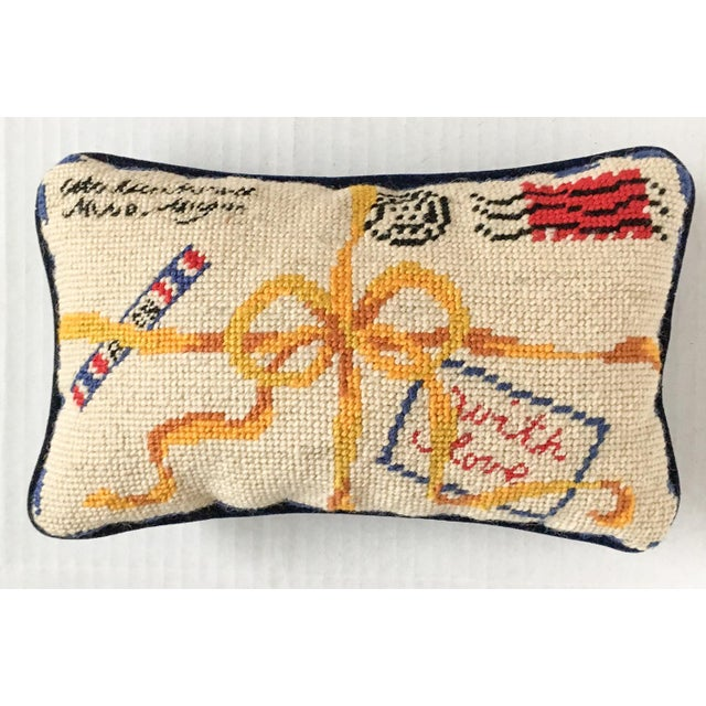 """French Style """"With Love"""" Par Avion Letter Needlepoint Pillow - Image 2 of 5"""
