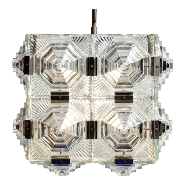 Czech Cast Glass Ceiling Lamp For Sale