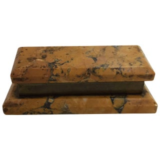 19th Century Marmo Gialo and Bronze Stamp Box For Sale