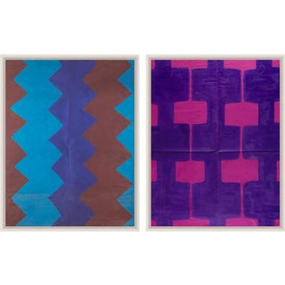 Paule Marrot Fuschia And Blue Brown, Framed Artwork - A Pair For Sale