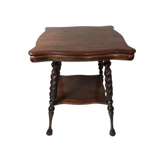 Antique Wood Barley Twist Legs Ball Feet Side Table