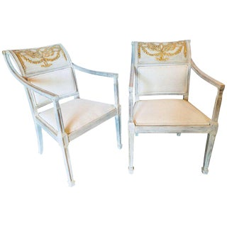 Swedish Parcel Gilt Decorated Armchairs - A Pair