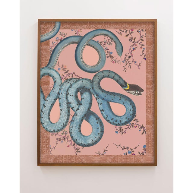 "Contemporary ""Les Serpentes"" Snakes, Flowers, and Textile Pattern Print For Sale - Image 3 of 3"