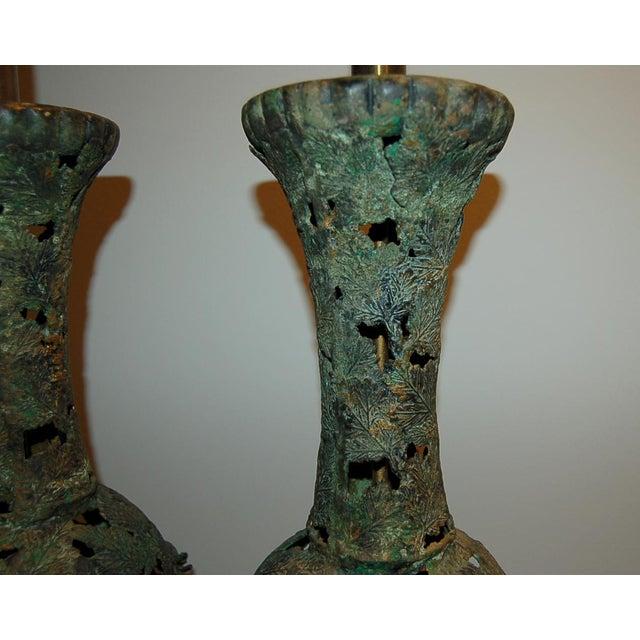 Vintage Metal Pierced Brutalist Table Lamps For Sale In Little Rock - Image 6 of 13