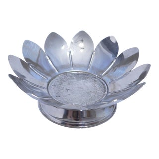 Vintage Silver Plated Lotus Flower Candy Dish For Sale