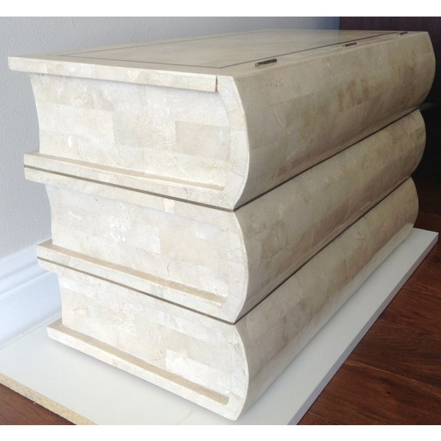 Contemporary Maitland Smith Tessellated Stacked Book Chest For Sale - Image 3 of 11