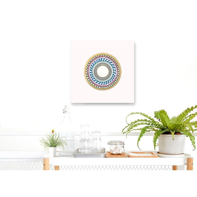 Blue Natasha Mistry Embroidered Circular Oil Painting For Sale - Image 8 of 11