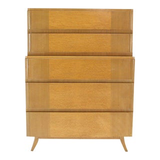 Mid Century Vintage Birch Wood High Chest For Sale