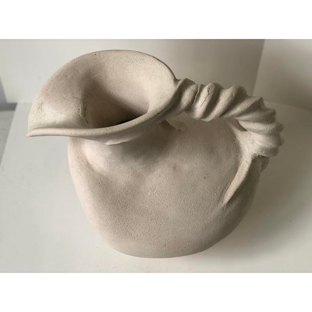 Cream Vintage Plaster Vessel in the Grecian Askos Form For Sale - Image 8 of 13