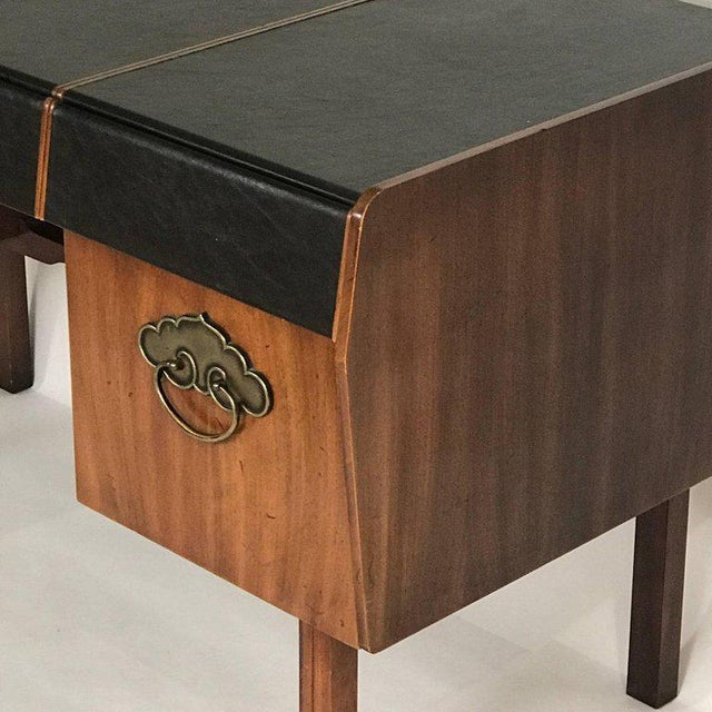 Bert England for John Widdicomb Leather Top Walnut Stilted Desk With Brass Pulls For Sale - Image 9 of 12