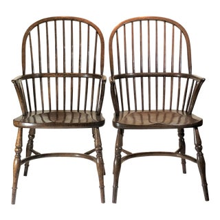 Pair English Oak Windsor Armchairs.
