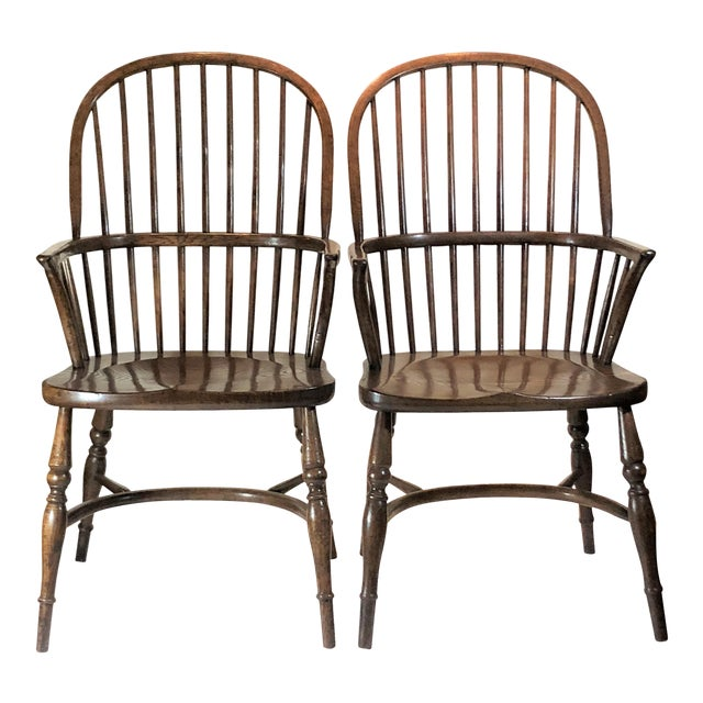 Pair English Oak Windsor Armchairs. For Sale