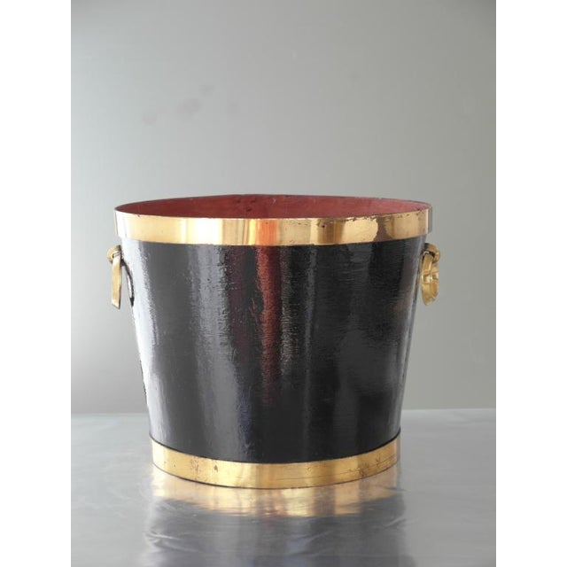 Mexican Brass and Painted Metal Bucket For Sale - Image 4 of 6