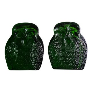 Blenko Mid-Century Green Glass Owl Bookends - A Pair