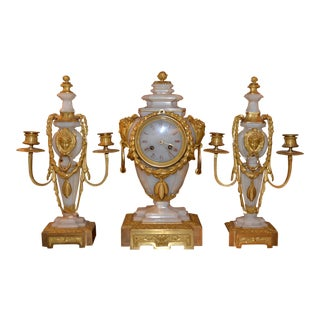 19th Century French Onyx and Bronze Clock Set - 3 Pieces For Sale