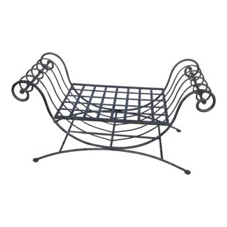 1940s Vintage Large Wrought Iron Garden Bench For Sale